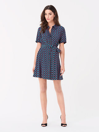 DIANE von FURSTENBERG ワンピース セール! DVF Jett Silk Crepe De Chine Mini Shirt Dress