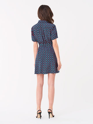 DIANE von FURSTENBERG ワンピース セール! DVF Jett Silk Crepe De Chine Mini Shirt Dress(3)