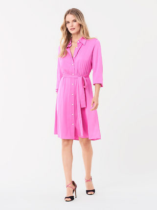 DIANE von FURSTENBERG ワンピース セール! DVF Aliana Silk Crepe De Chine Shirt Dress