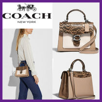[COACH] tabby top handle 20 in colorblock with snakeskin