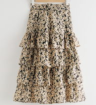 """& Other Stories"" Belted Floral Ruffle Midi Skirt Black"