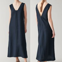 """""""COS"""" LYOCELL-LINEN LONG DRESS WITH SQUARE NECK NAVY"""