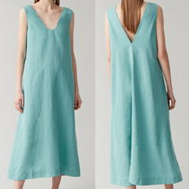 """COS"" LYOCELL-LINEN LONG DRESS WITH SQUARE NECK TURQUOISE"