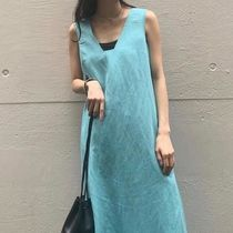 """""""COS"""" LYOCELL-LINEN LONG DRESS WITH SQUARE NECK TURQUOISE"""