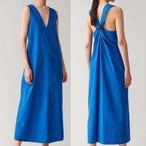 """""""COS"""" COTTON DRESS WITH KNOT DETAIL BLUE"""