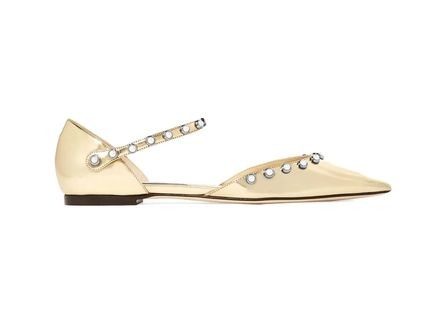 faux pearl-embellished mirrored-leather point-toe flats