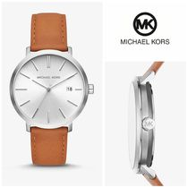 【Michael Kors】☆腕時計☆Silver-Tone and Leather Watch