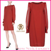 ROBERTO CAVALLI★素敵!SHEER LONG SLEEVES HOLIDAY RED DRESS