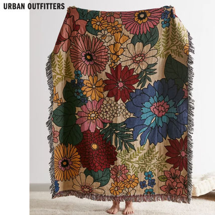 Urban Outfitters ブランケット Urban Outfitters/ floral woven reversible ブランケット関送込