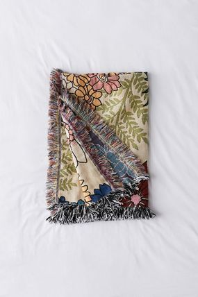 Urban Outfitters ブランケット Urban Outfitters/ floral woven reversible ブランケット関送込(3)