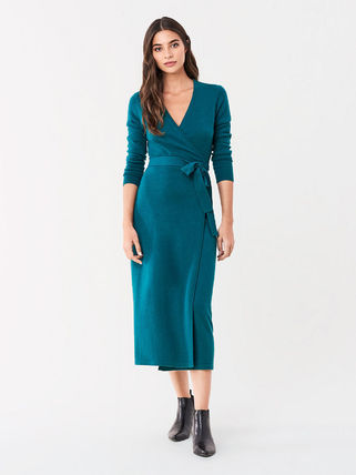 DIANE von FURSTENBERG ワンピース セール! DVF Astrid Wool-Cashmere Midi Wrap Dress