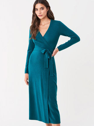 DIANE von FURSTENBERG ワンピース セール! DVF Astrid Wool-Cashmere Midi Wrap Dress(2)