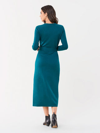 DIANE von FURSTENBERG ワンピース セール! DVF Astrid Wool-Cashmere Midi Wrap Dress(3)