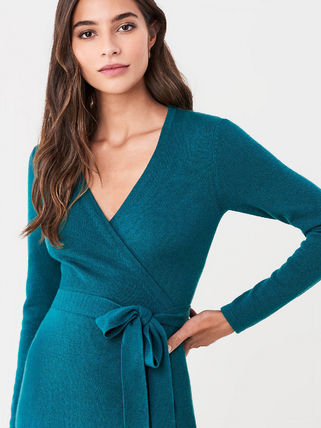 DIANE von FURSTENBERG ワンピース セール! DVF Astrid Wool-Cashmere Midi Wrap Dress(4)