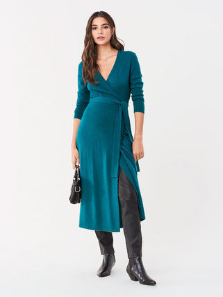 DIANE von FURSTENBERG ワンピース セール! DVF Astrid Wool-Cashmere Midi Wrap Dress(5)