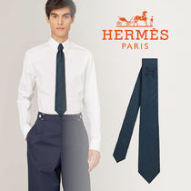 HERMES(エルメス)*Tie 7Cheval au Fil tie ネクタイ シルク ロゴ