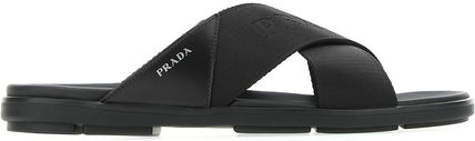 Prada□BLACK FABRIC SLIPPERS