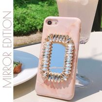 JALDOENCASE★ビジュー ミラー付き peach square phone case