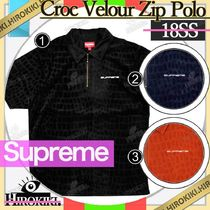 18SS/Supreme Croc Velour Zip Polo クロック ベロア ポロシャツ
