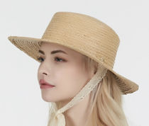 VARZAR★Lace strap paper boater hat