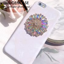 JALDOENCASE★ビジュー クリスタル white sunflower phone case