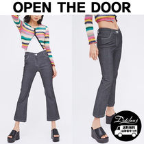 OPEN THE DOOR glossy boots-cut pants (2 color) YM533 追跡付