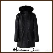 MassimoDutti♪QUILTED BLACK LEATHER COAT WITH HOOD