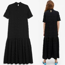 """MONKI"" Seersucker maxi dress Black"