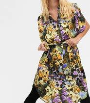 """MONKI"" Belted shirt dress Floral"