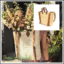 French Baskets(フレンチバスケット) かごバッグ French Baskets★Straw Leather Strap 2way バックバッグ