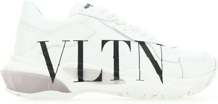 VALENTINO GARAVANI■WHITE LEATHER BOUNCE SNEAKERS