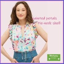 【kate spade】上品なお花柄★ painted petals tie-neck shell★