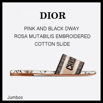 【DIOR】DWAY  EMBROIDERED COTTON SLIDE ピンク 花柄サンダル