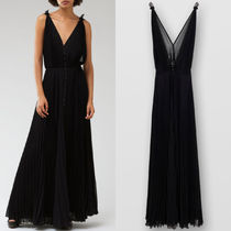C579 PLEATED CREPON LONG SUMMER DRESS