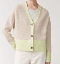 """COS"" JACQUARD KNIT CARDIGAN BEIGE/LIME"