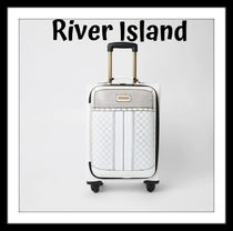 ★River Island★White ディアマンテ四輪スーツケース