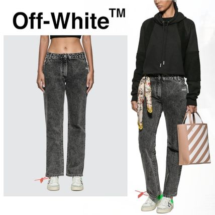 Off-White デニム・ジーパン オフホワイト ジーンス slightly bell jeans with twisted scarf