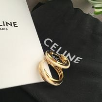 CELINE セリーヌ ENTRELACS HOOPS IN BRASS WITH GOLD WHITE