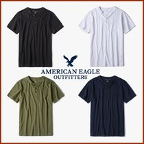American Eagle Outfitters(アメリカンイーグル) Tシャツ・カットソー ◆American Eagle◆ Cotton Solid Henly neck T-shirt 4色