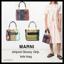 【MARNI】striped Glossy Grip tote bag【新作】トートバッグ