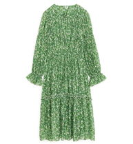 """""""ARKET"""" Gathered Lyocell Dress Green/Floral"""