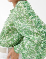 """""""ARKET"""" Ruffled Lyocell Blouse Green/Floral"""