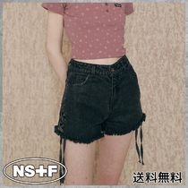 [NASTYFANCYCLUB] FANCY EYELET SHORTS DENIM PANTS (BLACK)