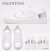 関税負担なし☆VALENTINO WHITE LEATHER BACKNET SNEAKERS