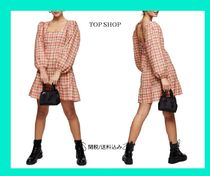 Top Shop Textured Check Long Sleeve チェックミニワンピース