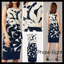 【Phase Eight】Barbara Contrast Floral Dress モダン 紺/白