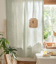 【DECO VIEW】Mint Melan Check Small Window Curtain