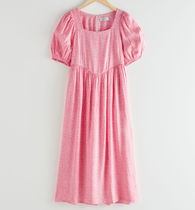 """""""& Other Stories"""" Square Neck Puff Sleeve Midi Dress Pink"""