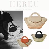 【HEREU】Leather-Trimmed Straw Tote