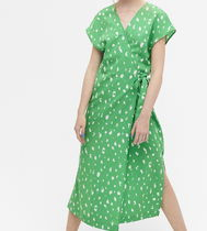 """MONKI"" Sleeveless wrap dress Green/Print"